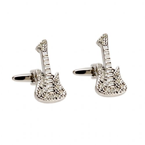 Crystal Guitar Cufflinks - Rhodim Plated Giftboxed Luxury Guitar Cufflinks Gift For Men
